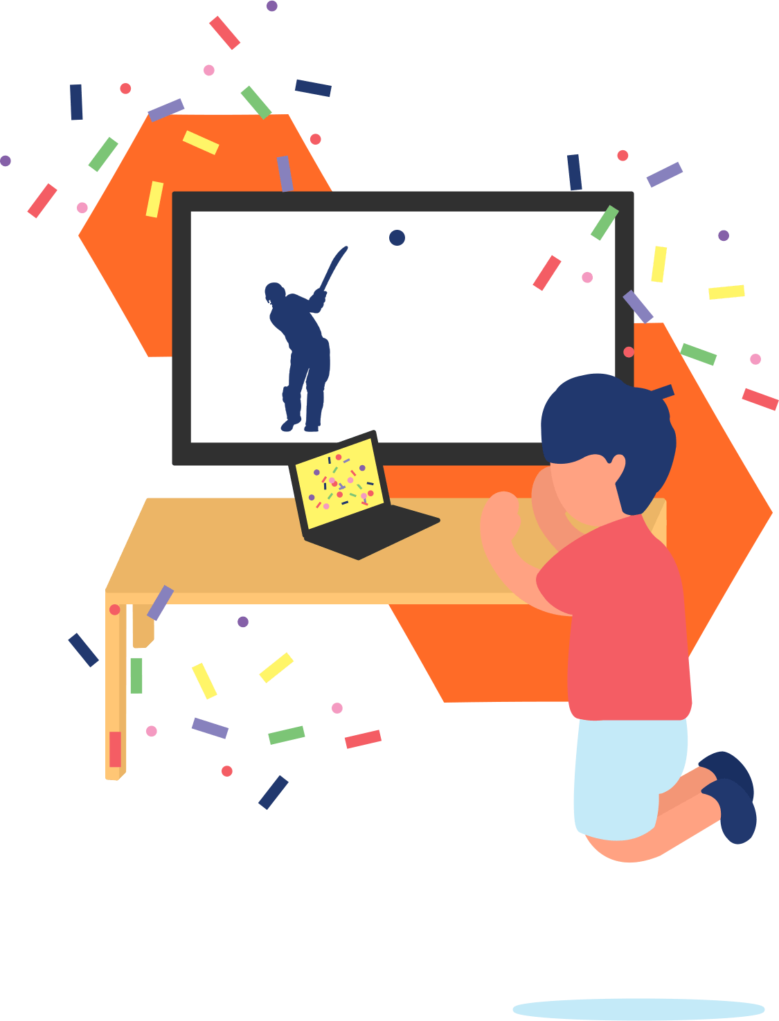 Person celebrating and jumping from his place in front of his laptop and his television.